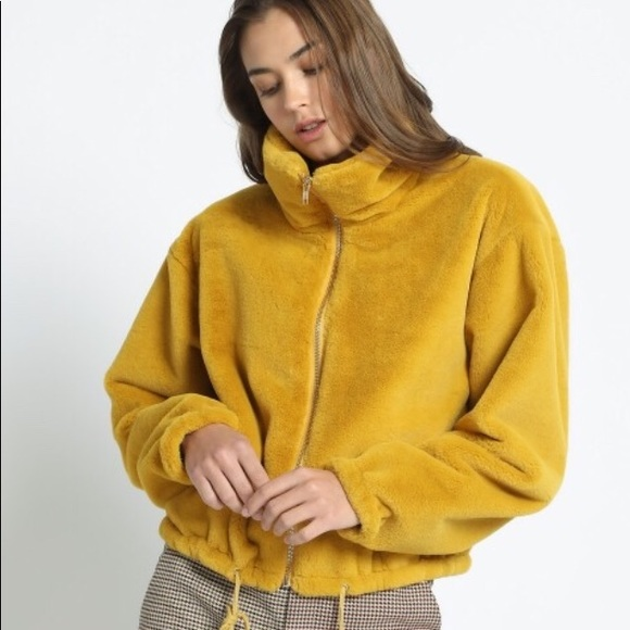 992176a02ca3a8 New Yellow Cropped Faux Fur Jacket